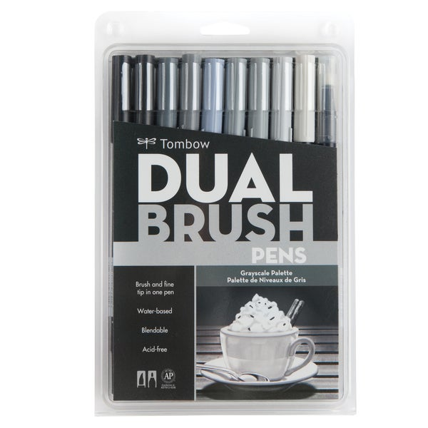 Tombow Gray Scale Dual Brush Pen Set (Pack of 10)