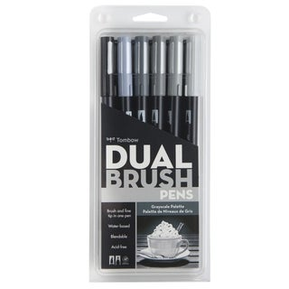 Tombow Gray Scale Dual Brush Pen Set (Pack of 6)