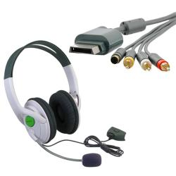 Composite and S-video Cable/ Headset for Microsoft Xbox 360