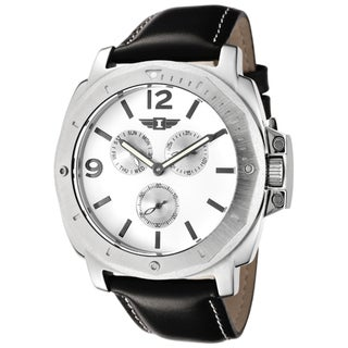 I by Invicta Men's White Dial Black Leather Strap Watch