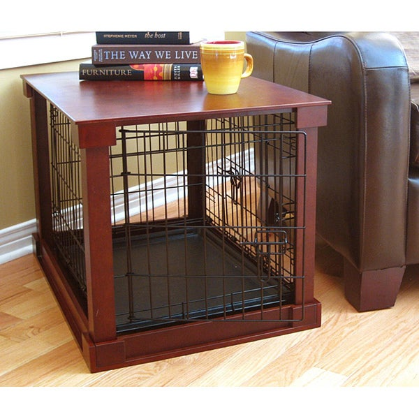 details about dog crate kennel black wood metal pet playpen cage tray