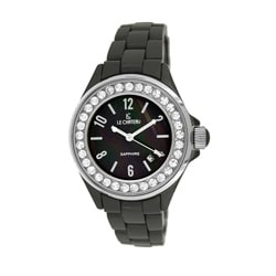 Le Chateau Persida LC Women's Black Ceramic Mother of Pearl Dial Watch