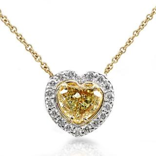 Annello 14k Gold 1 1/5ct TDW Certified Yellow Diamond Necklace (H-I, SI1-SI2)