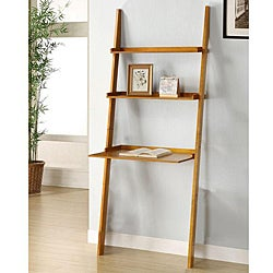 Oak 3-tier Leaning Laptop Shelf