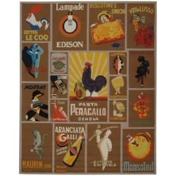 Hand-hooked Vintage Poster Mocha Wool Rug (8'9 x 11'9)