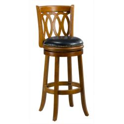 Cameron 29-inch Dark Oak Spiral-back Swivel Bar Stool