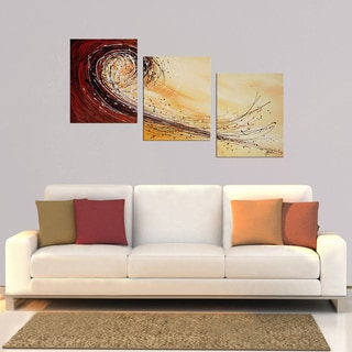 Hand-painted 'Abstract T8Q' 3-piece Gallery-wrapped Canvas Art Set