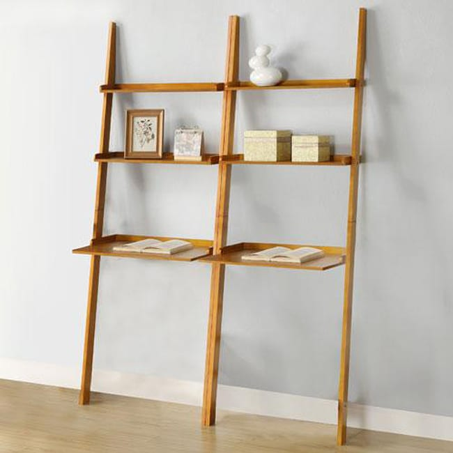 Oak 2-piece Leaning Laptop Shelf