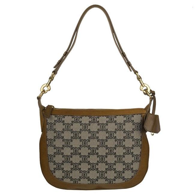 Celine Canvas Logo Shoulder Bag
