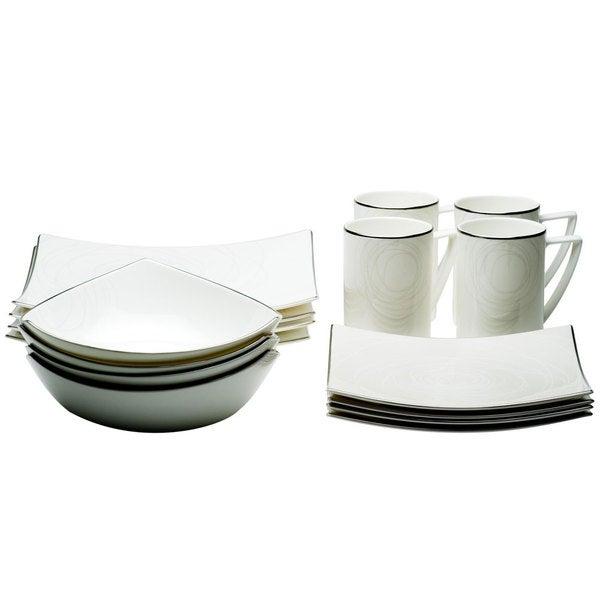 Red Vanilla Orbit 16-piece Bone China Dinnerware Set