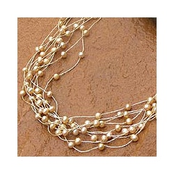 Silk 'Web of Beauty' Yellow Cultured Pearl Necklace (4 mm) (Thailand)