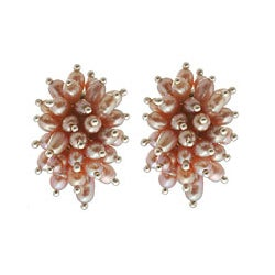 Sterling Silver 'Rose Cluster' Pink Pearl Earrings (4 mm) (Indonesia)
