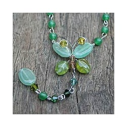 Stainless Steel 'Butterfly Love' Quartzite Peridot Necklace (Thailand)