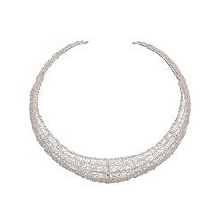 Sterling Silver 'Moon Weave' Choker Necklace (Indonesia)