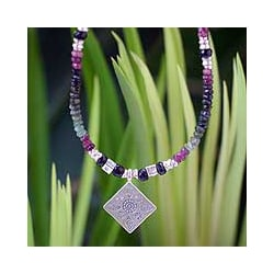 Sterling Silver 'Hill Tribe Sun' Tourmaline Necklace (Thailand)