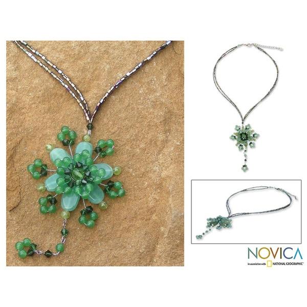 'Carnation Dazzle' Beaded Flower Necklace (Thailand)
