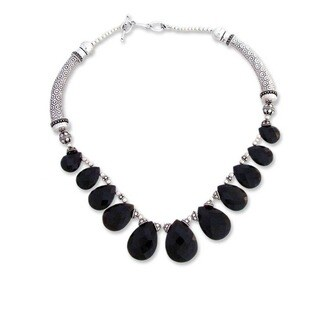 Sterling Silver 'Regal India' Onyx Choker (India)