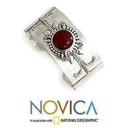 Sterling Silver 'Hypnotic Sun' Carnelian Cuff Bracelet (Indonesia)