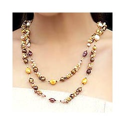 'Delightful Brown' Freshwater Pearl Necklace (4-12 mm) (Thailand)