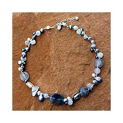 Silver 'Midnight Sea' Freshwater Pearl Necklace (6-10 mm) (Thailand)