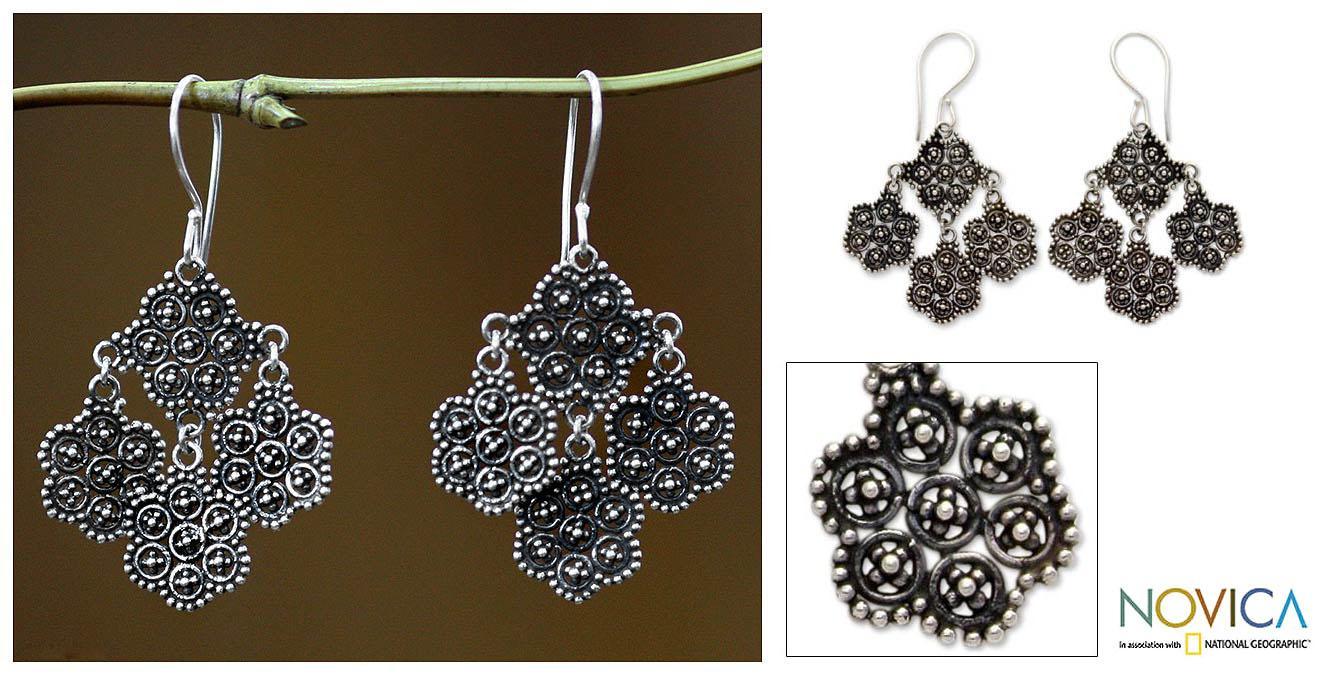 Sterling Silver 'Heartfelt Bouquet' Chandelier Earrings (Indonesia)