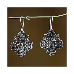 Sterling Silver 'Heartfelt Bouquet' Chandelier Earrings (Indonesia)