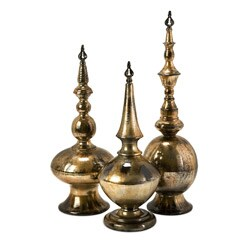 Wrought Iron Venice Imperial Metal Finials (Set of 3)