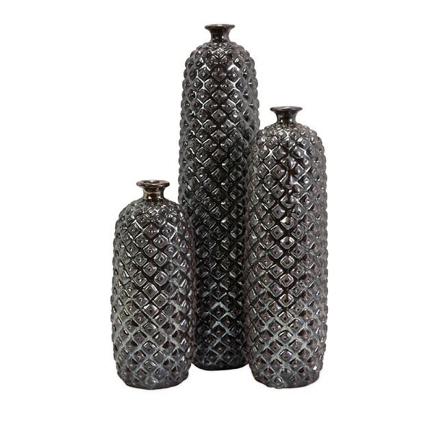 Ceramic Regent Deep Diamond Textured Bottles (Set of 3)
