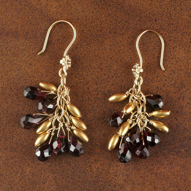 14k Gold Plated Sterling Garnet Cascade Earrings (Native American)