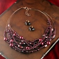 Glass Bead Necklace and Earrings Set (China)
