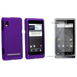 Dark Purple Rubber Case/ Screen Protector for Motorola Droid 2