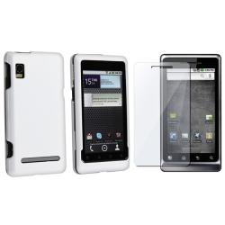 White Rubber Case/ Screen Protector for Motorola Droid 2