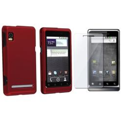 Wine Red Rubber Case/ Screen Protector for Motorola Droid 2