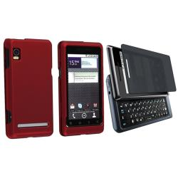 Wine Red Rubber Case/ Privacy Filter for Motorola Droid 2