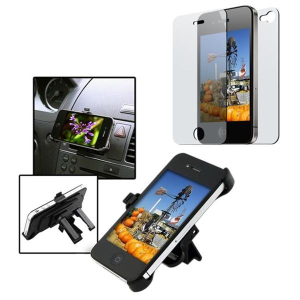 INSTEN Car Vent Phone Holder/ 2-piece Screen Protector for Apple iPhone 4
