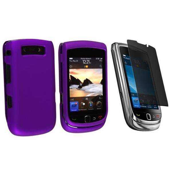 Purple Rubber Case/ Privacy Filter for BlackBerry Torch 9800