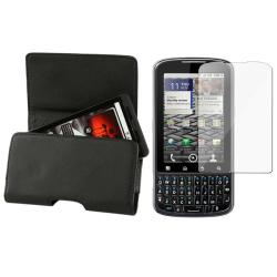 Black Leather Case/ Screen Protector for Motorola A957 Droid Pro