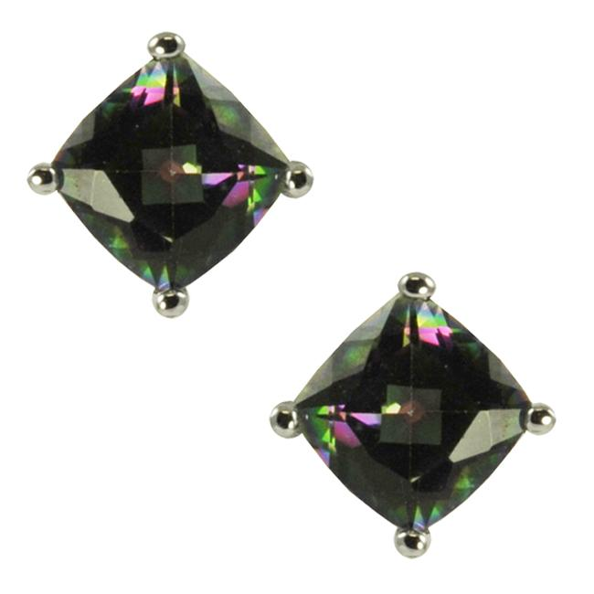 Gems For You Silver Cushion-cut Mystic Topaz Stud Earrings