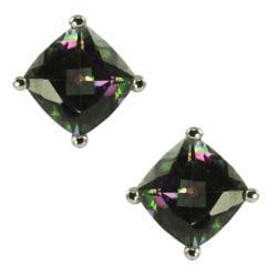 Gems For You Silver Cushion-cut Mystic Topaz Stud Earrings