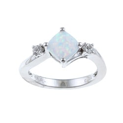 Gems For You Sterling Silver Opal and White Topaz Ring (Size 7)