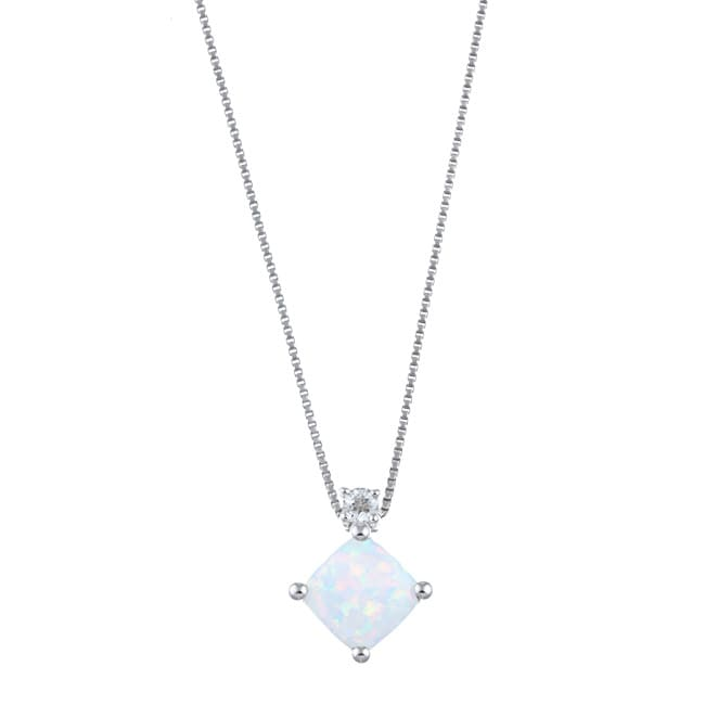 Gems For You Sterling Silver Opal and White Topaz Necklace