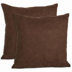Chocolate Microsuede Throw Pillows (Set of 2)