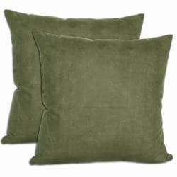 Green Microsuede Throw Pillows (Set of 2)