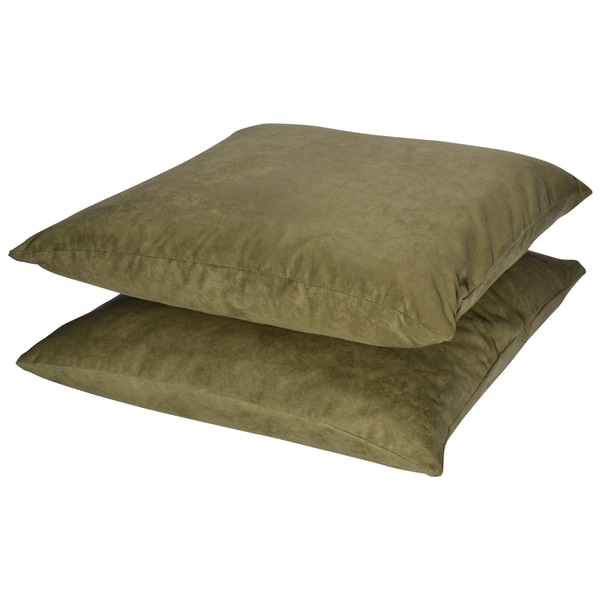 Green Microsuede Feather and Down Filled Throw Pillows (Set of 2)