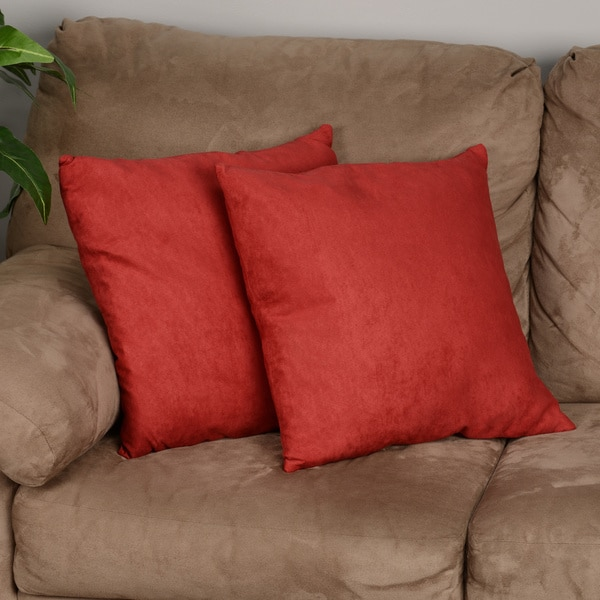 18-inch Red Microsuede Feather and Down Filled Throw Pillows (Set of Two)