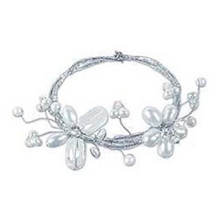 Stainless Steel 'Butterfly Bloom' Freshwater Pearl Bracelet (4-8 mm) (Thailand)