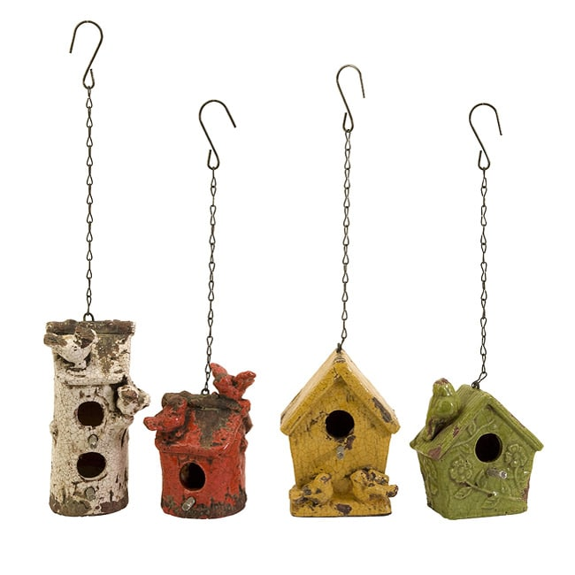 Ceramic Feathered Friends Bird Houses (Set of 4)