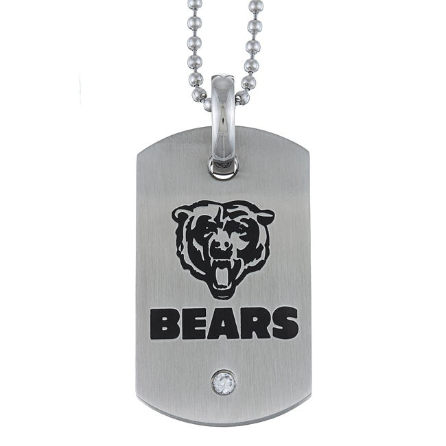 Stainless Steel Cubic Zirconia Chicago Bears Dog Tag