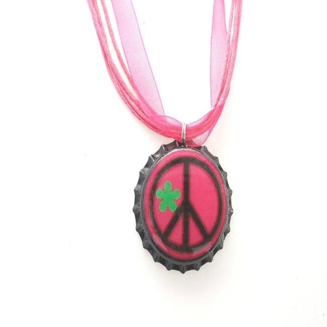 Hot Pink and Black Peace Bottle Cap Necklace