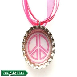 Pink/ White Peace Sign Bottle Cap Necklace
